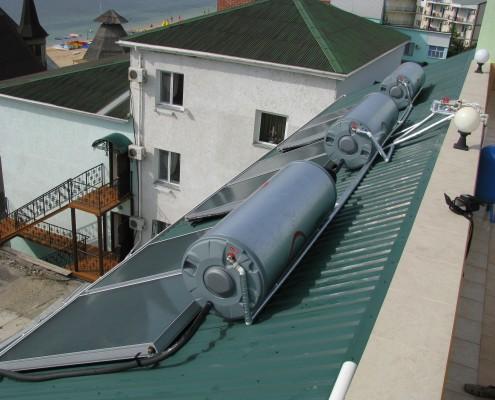 Солнечная система для нагрева воды в Судаке